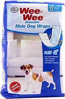 36 Pack of Wee-Wee Products Disposable Male Dog Wraps X-Small/Small - (3 Packages with 12 Wraps Each)