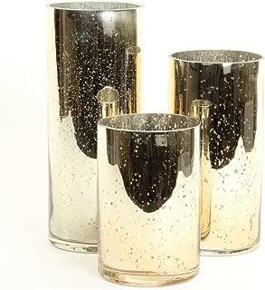 Koyal Wholesale Gold Mercury Glass Cylinder Vases Set of 3 for Flowers, Floating Candles, Centerpiece Wedding Decor