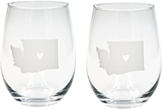 About Face Designs Washington Shape In White 16 Ounce Wine Glass Set of 2