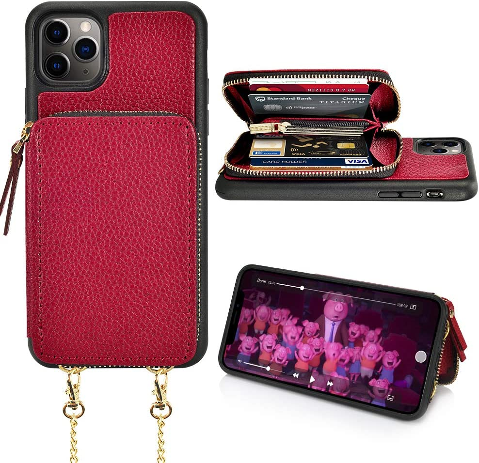 iPhone 11 Pro Max Wallet Case, iPhone 11 Pro Max Case with Card Holder, LAMEEKU Zipper Leather Case with Card Slot Crossbody Chain, Protective Cover for iPhone 11 Pro Max 6.5'' (2019) - Wine Red