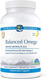 Nordic Naturals Pro Balanced Omega, Lemon - 180 Soft Gels - 500 mg Omega-3 + 800 mg Evening Primrose Oil - Healthy Skin, H...