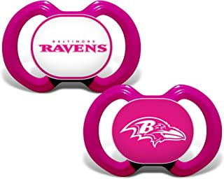 Baby Fanatic NFL Legacy Infant Pacifiers, Baltimore Ravens Pink, 2 Pack