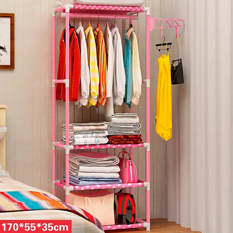 Coat Rack Coat Rack Simple Hanger Floor Hanger Household Bedroom Clothes Shelf (color   Pink)
