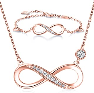 """Billie Bijoux 925 Sterling Silver Necklace Bracelet One Sets Forever Love"""" Infinity Heart Love Jewelry Sets White Gold Plated Diamond Women Necklace Gift for Mother's Day"""