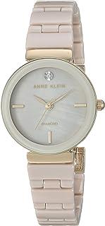Anne Klein Reloj de pulsera de cerámica con detalles de diamantes, para mujer