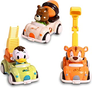 EFOSHM Car Toys for Baby 3 Sets-Friction Powered Cars-Push and Go Cars-Cartoon Cars Toys for Kids, Toddler Toy Cars for Boys, Girls