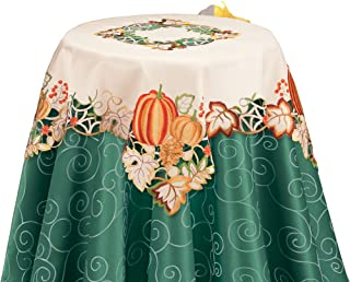 Collections Etc. Colorful Fall Harvest Pumpkin Table Runner with Intricate Cutouts - Cream Colored Table Linen with Orange, Green, Yellow and Red Embroidery in 100% Polyester Machine Washable Fabric