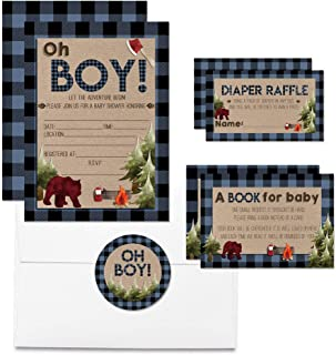 """Deluxe Oh Boy! Blue Plaid Lumberjack Baby Shower Party Bundle, Includes 20 Each of 5""""x7"""" Fill in Invitations, Diaper Raffle Tickets, Bring a Book Cards & 2"""" Thank You Favor Stickers, Envelopes"""