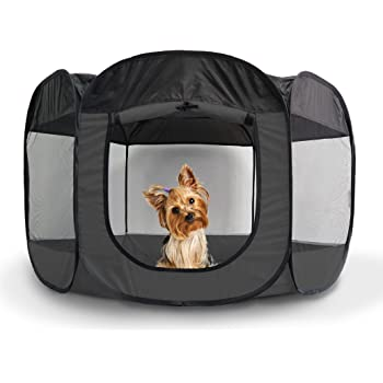 Furhaven Pet Playpen - Indoor-Outdoor Mesh Open-Air Playpen and Exercise Pen Tent House Playground for Dogs and Cats, Gray, Small