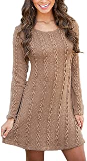 4cc2c438aac BienBien Robe Pull Tricot Femme Manches Longues Automne Hiver Mince Robe  Sweater Tricot Casual A Line