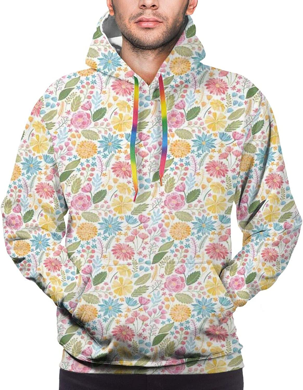 Men's Hoodies Sweatshirts,Botanical Garden Pattern with Pink Hibiscus Blossoms Aloha Nature