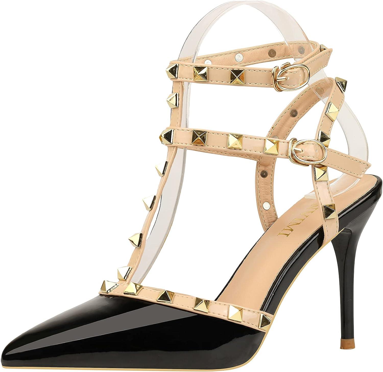 JUBAIYUAN Ladies Rivet high Heels Pointed Toe Strap high Heel Sa
