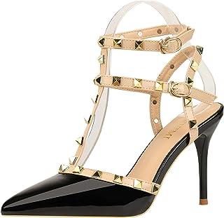 Ladies Rivet high Heels Pointed Toe Strap high Heel Sandals Ankle Strap