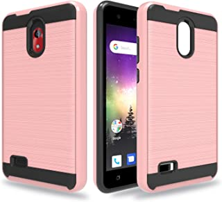Ayoo for:Coolpad Illumina 3310 case with HD Screen Protector,[Drop Protection] Brushed Texture Full-Body Shockproof Protective Cover Design for Coolpad Illumina 3310-ZS Rose Gold