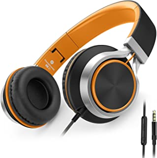AILIHEN C8 Wired Folding Headphones with Microphone and Volume Control for Cellphones Tablets Android Smartphones Laptop Computer Mp3/4 (Black/Orange)