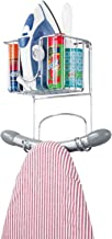 mDesign Wall Mount Ironing Center with Small Basket and Ironing Board Hooks - Chrome