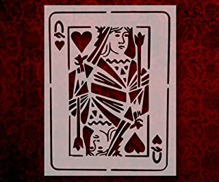 Playing Card Queen of Hearts 8.5 x 11 Inches Stencil (31)