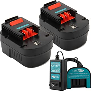 Creabest Upgraded 2Packs 3500mAh Ni-MH 12V HPB12 Battery Replacement for Black & Decker FS120B FSB12 FS120BX Include One 1.2V-18V Ni-MH/Ni-CD Charger
