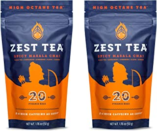 Zest Tea Energy Hot Tea, High Caffeine Blend Natural & Healthy Traditional Coffee Substitute, Perfect for Keto, 150 mg Caffeine per Serving, 40 Sachets (2 Pouches), Spicy Masala Chai Black Tea