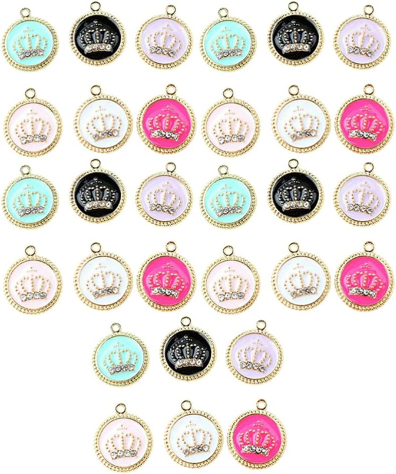 EXCEART 30pcs Diamond Very Limited price popular Round Crown Rhi Pendant Charms Alloy