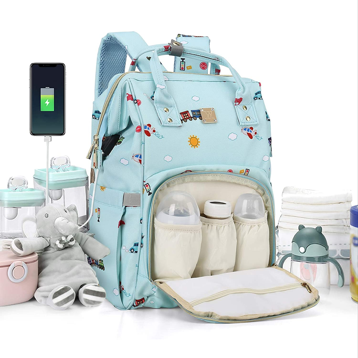 Diaper Bags Backpack Baby Bag for Mom Dad Baby Girls Boy, Cute Mult Diaper Nappy Bag Travel Back Pack,Waterproof Maternity Changing Bag Baby Stuff with USB Charging Port Stroller Straps Large Blue