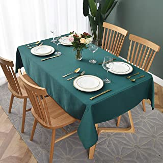 maxmill Jacquard Table Cloth Geometric Pattern Water Proof Wrinkle Free Heavy Weight Soft Tablecloth Decorative Fabric Table Cover for Outdoor and Indoor Use Rectangular 60 x 104 Inch Dark Teal
