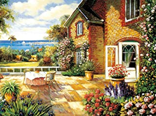 AOLIGE 1000 Pieces Wooden Jigsaw Puzzles for Adults Creative Games Entertainment Floor Puzzles Home Decor Seaside Balcony ...