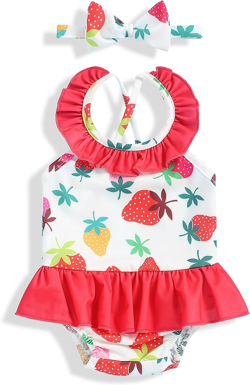 Newborn Baby High order Girls Summer Swimsuit Houston Mall Sleeveless Sw Set Fruit Print