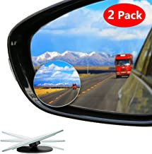 LIBERRWAY Blind Spot Mirror Frameless Wide Angle Mirror Adjustable Convex Rear View Mirror 360°Rotate for All Universal Vehicles Car Stick on Design 2 Pack