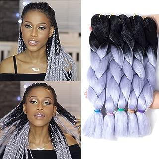 LOSMOEER 24Inch 5Pcs/Lot Jumbo Braiding Crochet Hair Kanekalon Box Braid Twist Hair Crochet Braids Goddess Locs Hair Extension (2 Tone Ombre Black to Silver)
