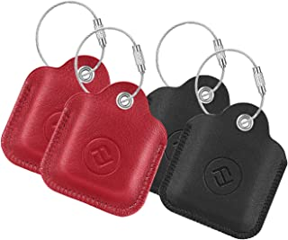 [4 Pack] Fintie Genuine Leather Case for Tile Mate (2020 & 2018 & 2016) / Tile Pro (2020 & 2018) / Tile Sport/Tile Style Key Finder Phone Finder, Anti-Scratch Protective Skin Cover with Keychain