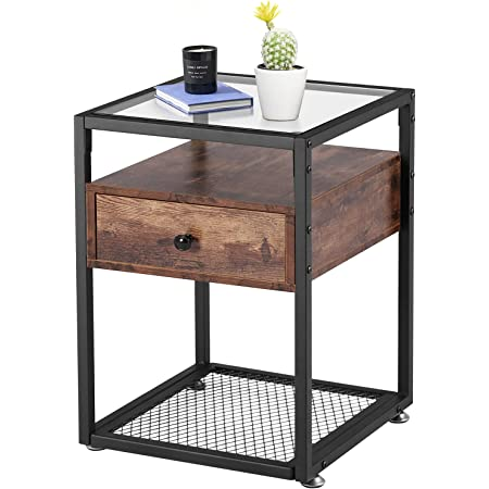 VECELO Nightstand, Tempered Glass End Table, Cabinet with Drawer and Rustic Shelf Decoration in Living Room,Bedroom,Lounge, Brown