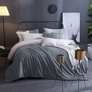 Merryfeel Cotton Duvet Cover Set,100% Cotton Yarn Dyed Stripe Duvet Cover Set, 3 Pieces Bedding Set- King