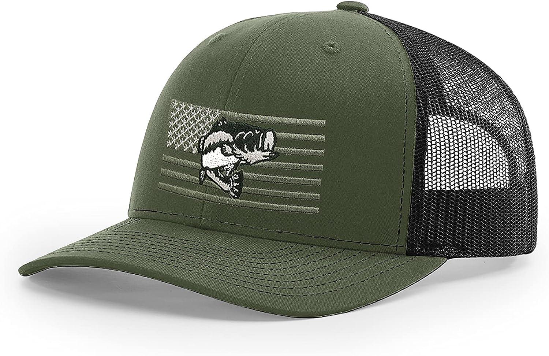 B Wear Sportswear Fish Flag Richardson 112 Trucker Cap (Loden/Black)