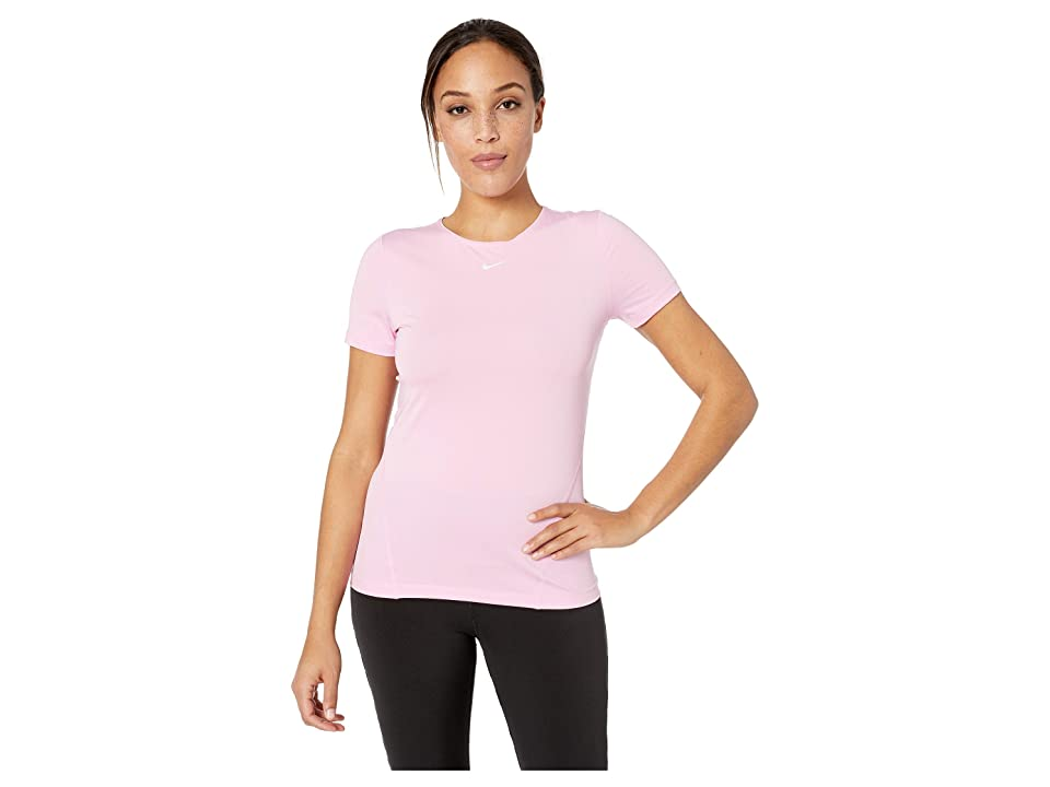 Nike Pro All Over Mesh Short Sleeve Top (Pink Rise/White) Women