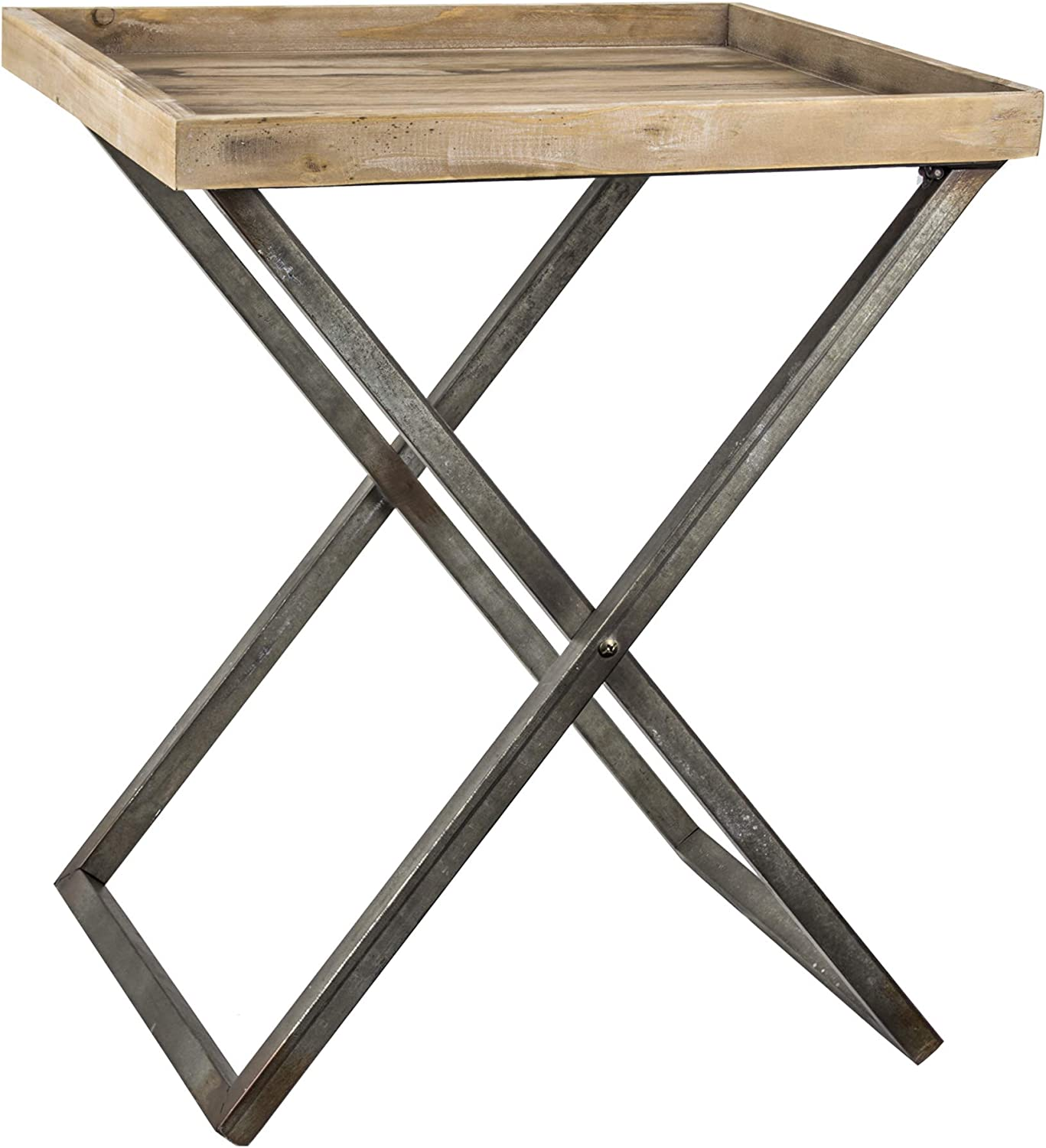 American Art Decor Wood National products and Metal Side free Folding Accent Card End T