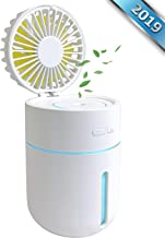 New Chrono Ultrasonic Cool Mist Humidifier with Fan, Portable USB Rechargeable Battery, 400ml Capacity with 7 Color Night Lights, Small Personal Desktop Air Misting Fan for Home Bedroom Car & Office