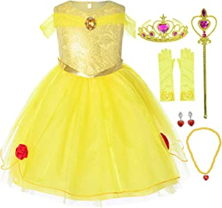Joy Join Princess Costume Dress for Toddler Girls Birthday Party with Gloves,Crown,Wand,Necklace