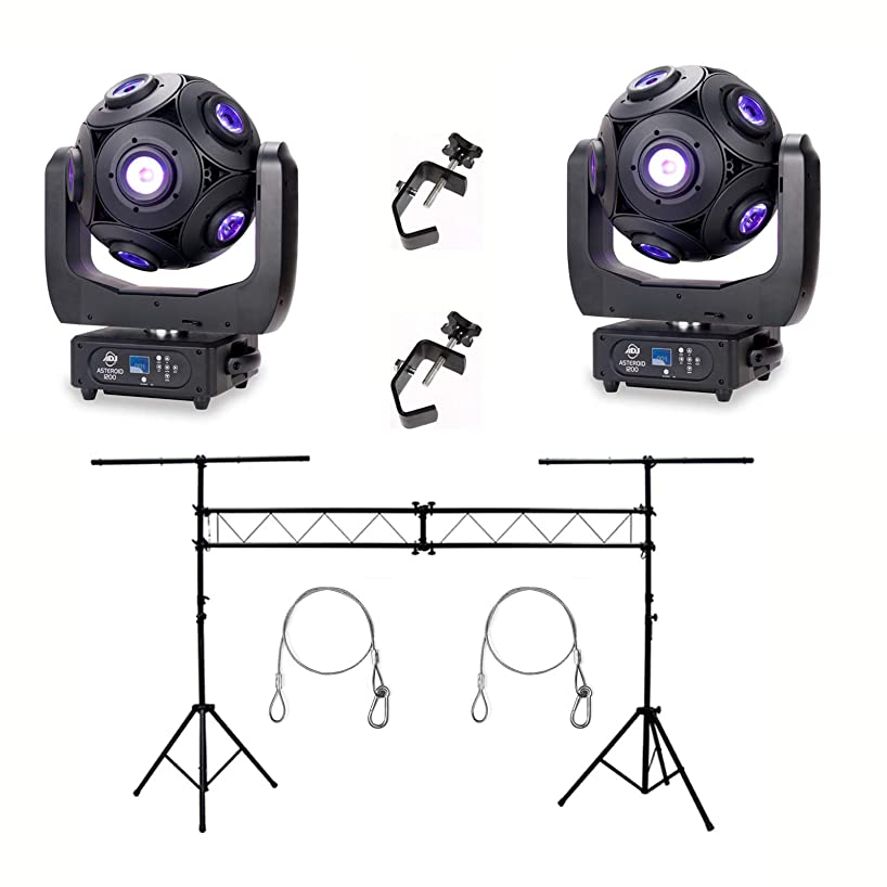 American DJ Asteriod LED Centerpiece (2) w/ 10ft T Bar Light Stand, C Clamp (2)
