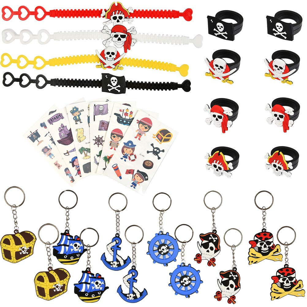OFNMY Party Bag Fillers Toys for Kids, Pirate Party Supplies Favours Pirate Keyrings Rubber Pirate Rings Pirate Temporary Tattoos for Kids Children Birthday, Pinata, Prizes