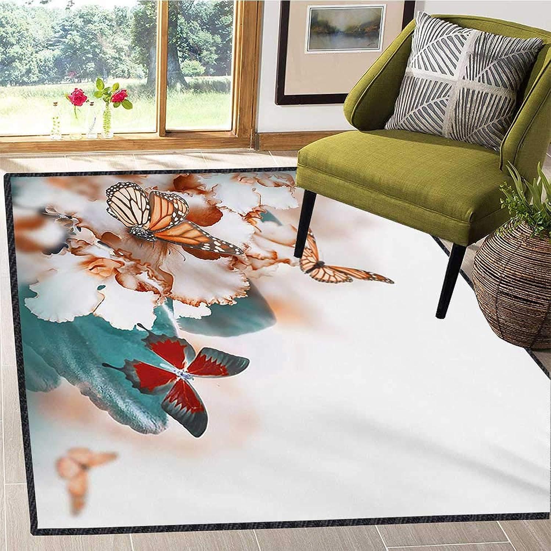 Nature, Door Mats for Inside, colorful Butterflies Flying Over purple Petals Flowers Spring Beauty Illustration, Door Mat Increase 5x6 Ft Multicolor