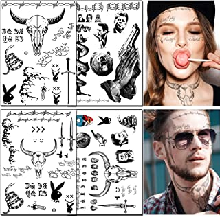 4 Sheets Temporary Face Tattoos Stickers Halloween Face Tattoo Kit Festival Body Art Makeup Temporary Tattoos for Women Me...