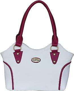 Fristo Women's Handbag (FRB-034, Cream and Pink)