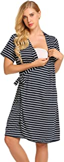 Ekouaer Striped Maternity Robe, Pregnant Short Sleeve Labor Delivery Nursing Hospital Gowns S-XXL
