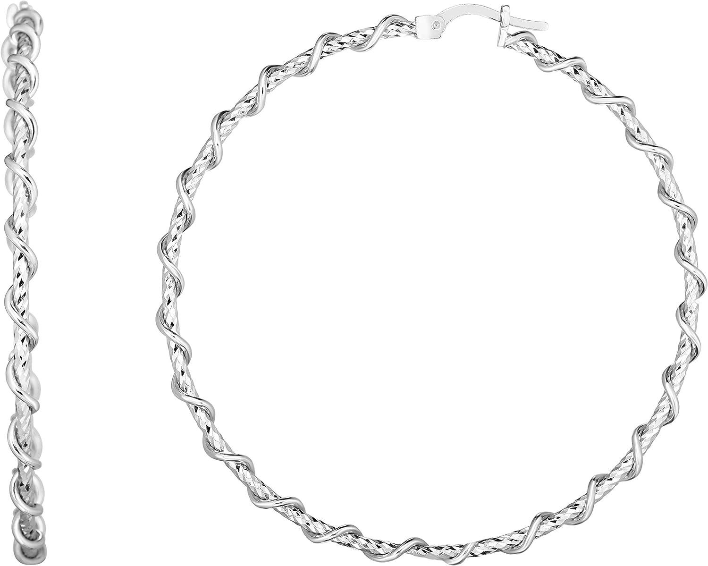 Silver with Rhodium Finish 3.2x57x56.5mm Cut Large discharge sale Regular discount Diamond Hoop Earrin
