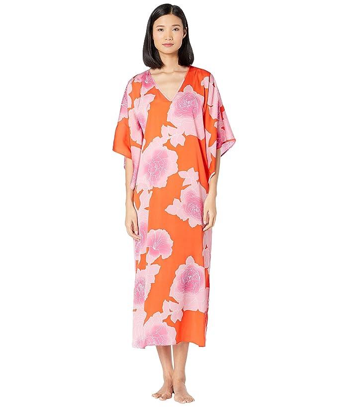 N by Natori  Peony Sunset Caftan (Orange Coral/Pink) Womens Pajama