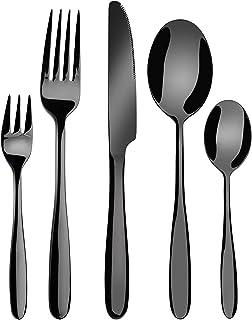 Velaze Ménagère Assortie Couverts de Table Inoxydable en Couleur Noir, Couteaux et Fourchettes de 20 Pièces pour 4 Personn...