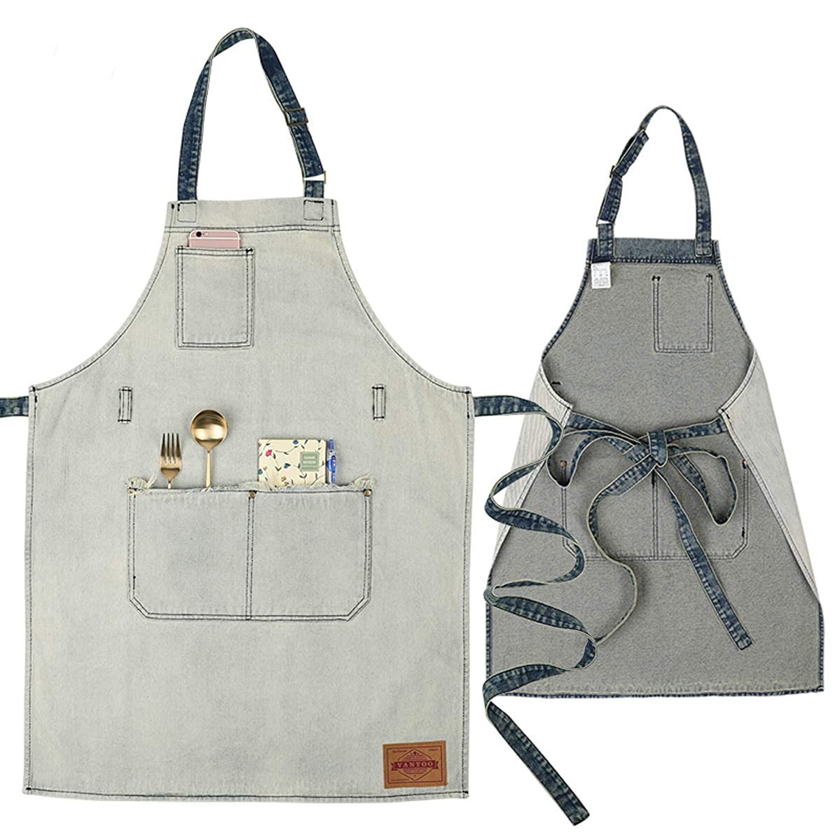 VANTOO Denim Artist Apron with 3 Pockets for Men Women-Jean Painting Salon Apron-Adjustable Neck Strap-Extra Long Ties for Friends Families,White