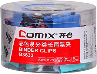 Comix Binder Clips 32 mm, Colored, (Pack of 24 PCS