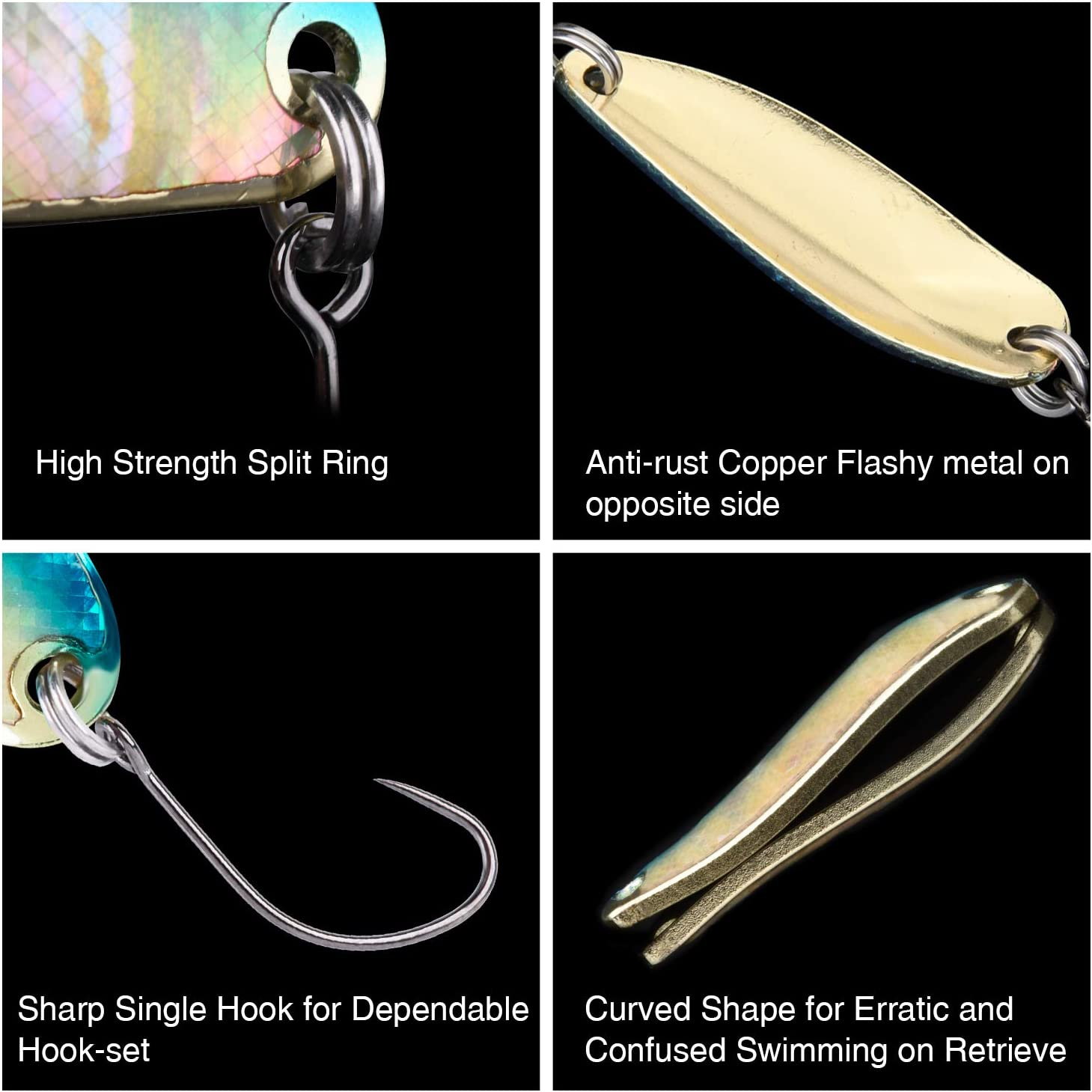 Catfish,Panfish Bluegill Crappie Bass Goture Reflective Ice Fishing Jigs Ice Fishing Lure with Sharp Hook for Trout Walleye